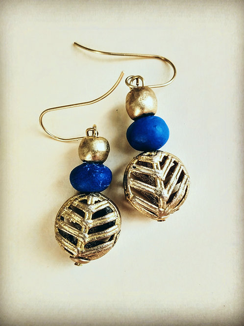 Blue pottery beads with brass