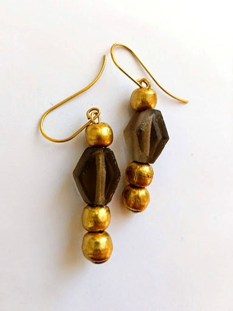 Long grey diamond and brass earrings