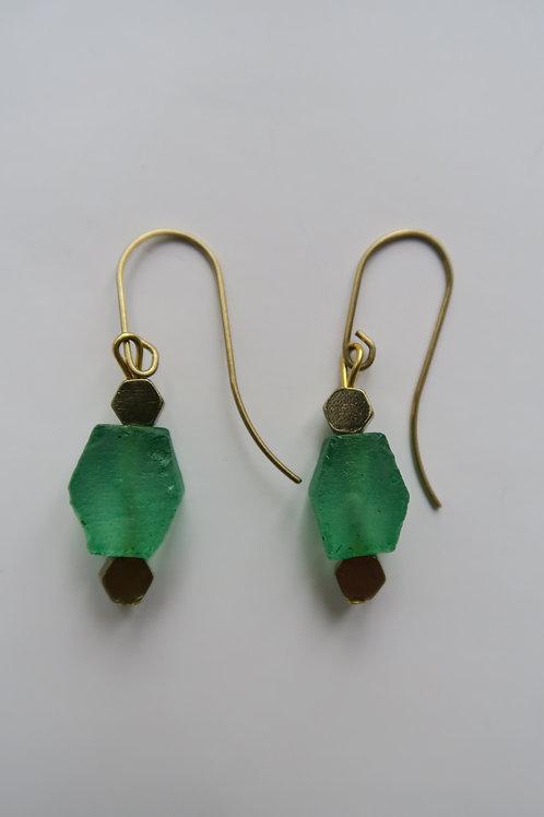 Green Hexagonal glass earrings