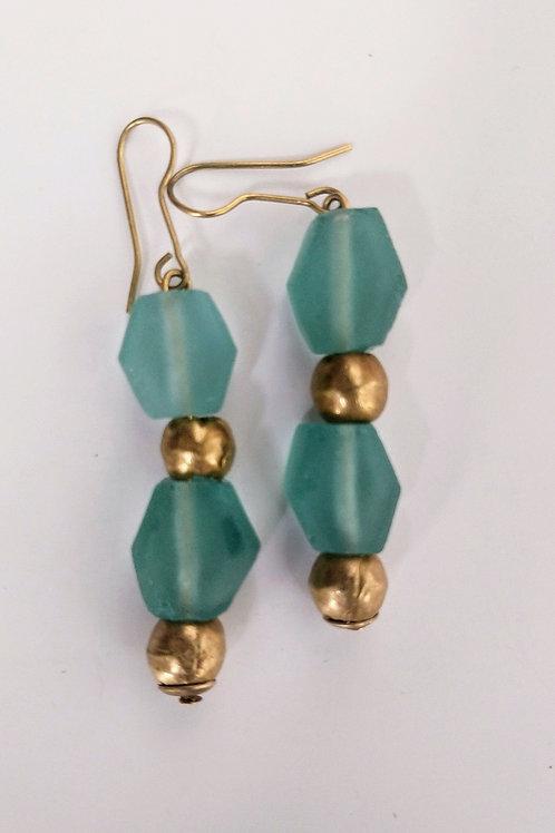 Long facetted Aquamarine glass Earrings