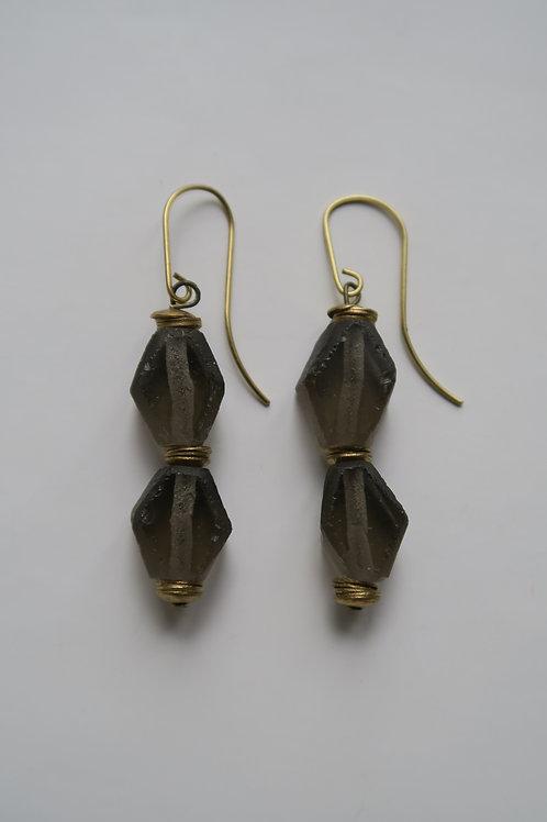 Long grey Java glass earrings