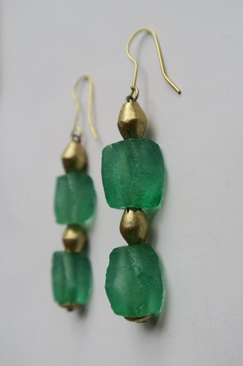 Large green hexagonal glass earrings