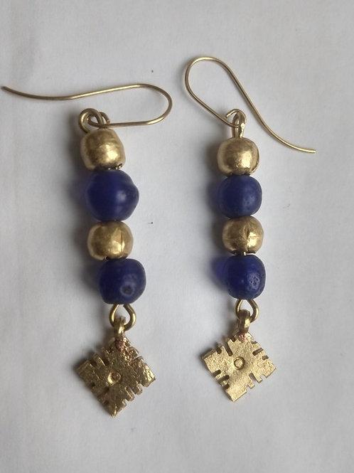 Cobalt and brass earrings