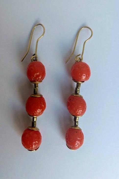 Long apricot earrings