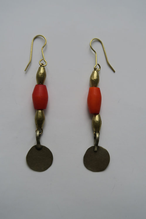 Orange Afghan dangle earrings