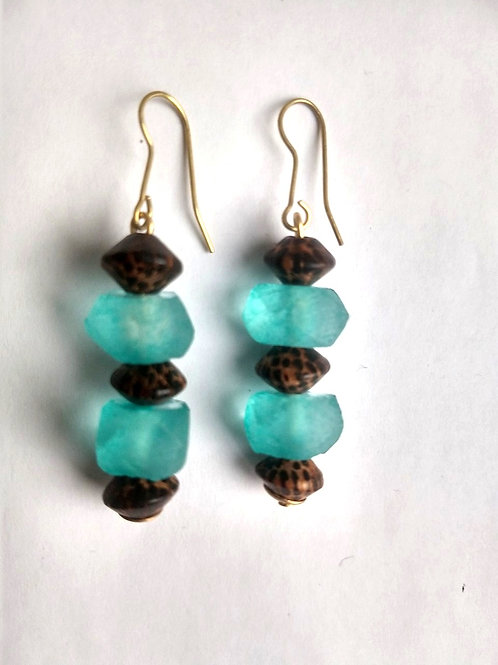 Aqua glass and animal print earrings
