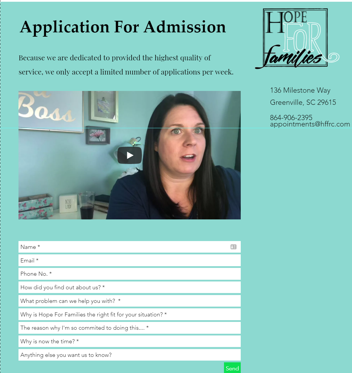 addiction treatment application for Hope For Families