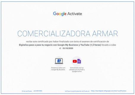certificado google my business y youtube