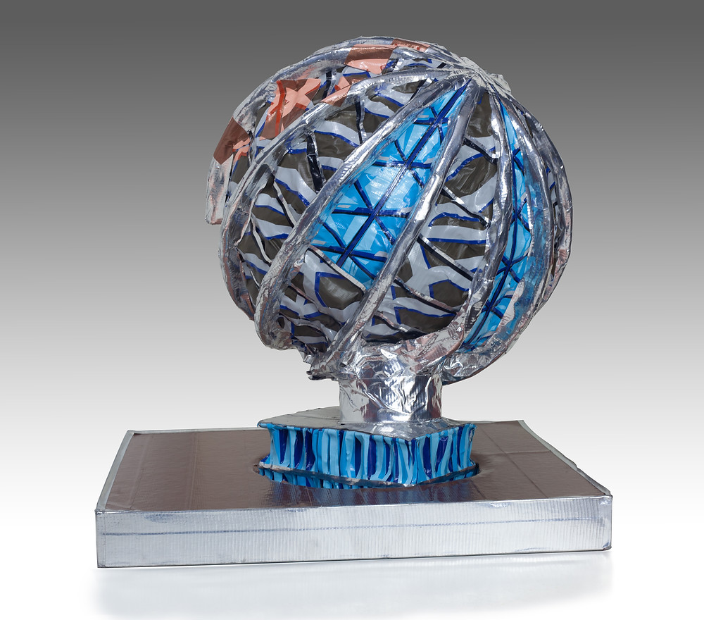 A globe-like sculpture constructed of colorful duct-tape.