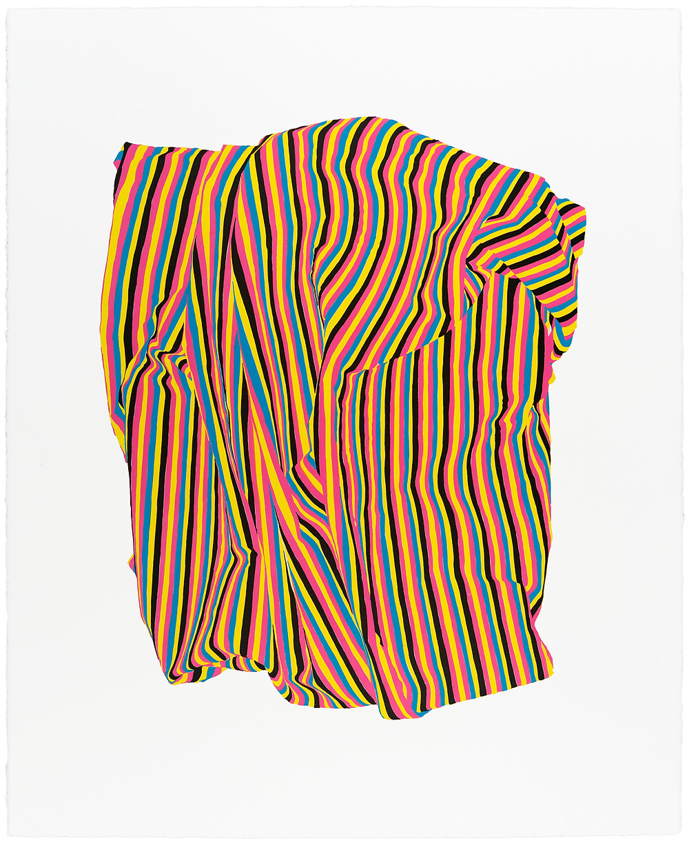 """""""Stripescape II"""" Four-color lithograph on Somerset satin paper. Limited edition of 50. 22 1/4 x 28"""" Published by Petrichor Press. Printed by Peter Haarz, TMP."""
