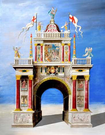 The Arch of the Italians  Paper collage and mixed media 2019  Ed Kluz