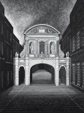 Temple Bar   Indian ink on gesso  2019  Ed Kluz