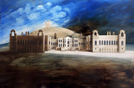 Claremont House  Paper collage and mixed media 2014  Ed Kluz