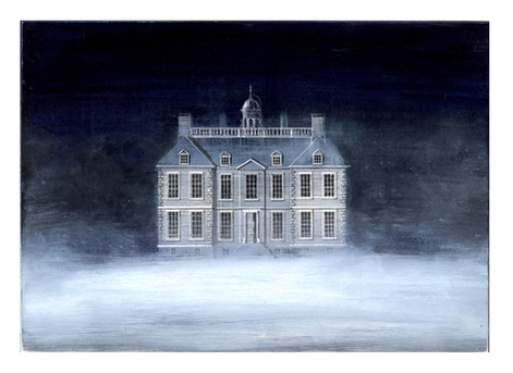 Ghost House II  Mixed media on gesso 2020  Ed Kluz