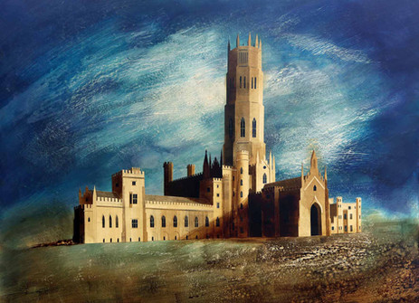 Fonthill Abbey   Paper collage and mixed media 2014  Ed Kluz