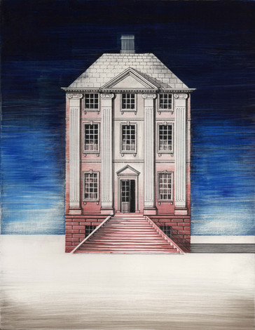 Design for a Red House  Mixed media on gesso 2020  Ed Kluz