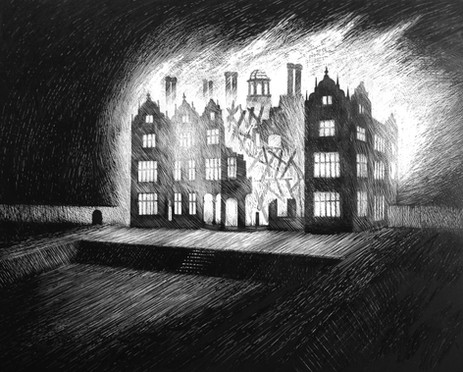 Chipping Campden House on fire  Scraperboard 2016  Ed Kluz