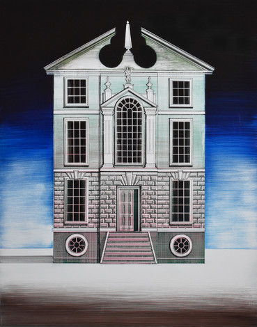House for a Cabinet Maker  Mixed media on gesso  2020  Ed Kluz