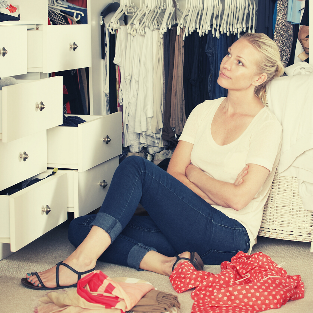 woman with nothing to wear trying to define her personal style