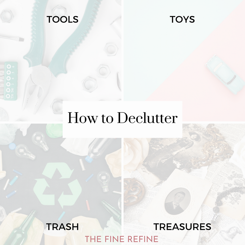 Decluttering system for purging and sorting tools, toys, treasures and trash.