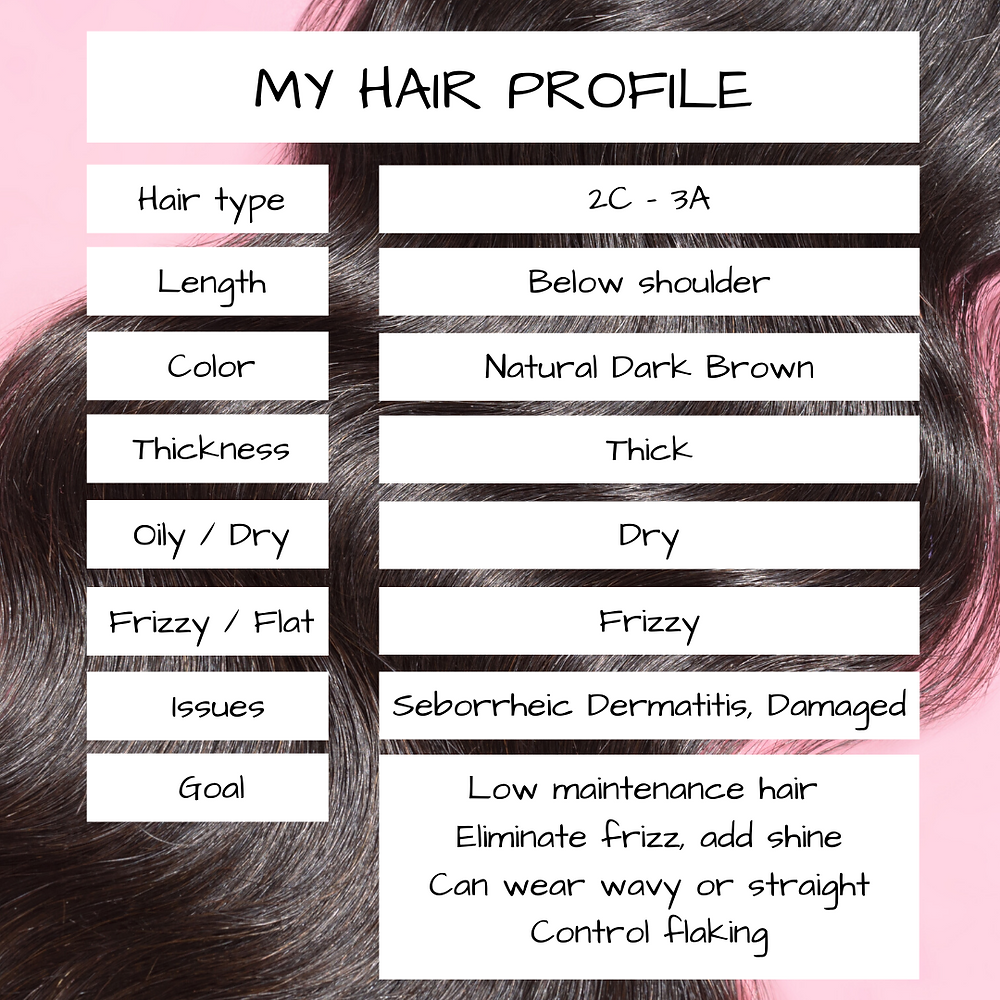 hair profile with thick frizzy damaged dry curly hair