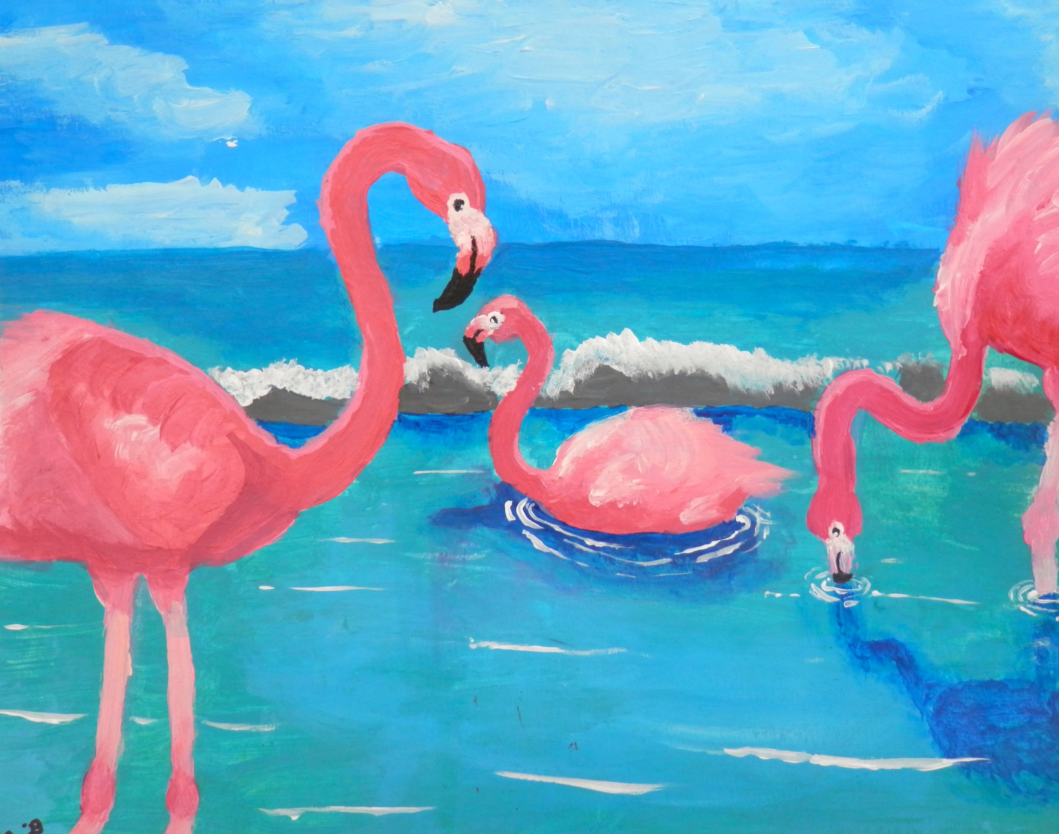 Flamingos (painting or plasticine relief)