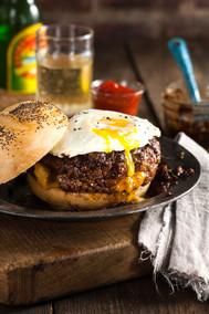 Burger with fried egg and Sesame Bun