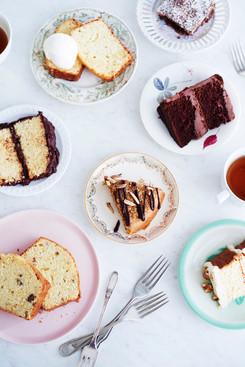 Cake Slices on Saucers overhead