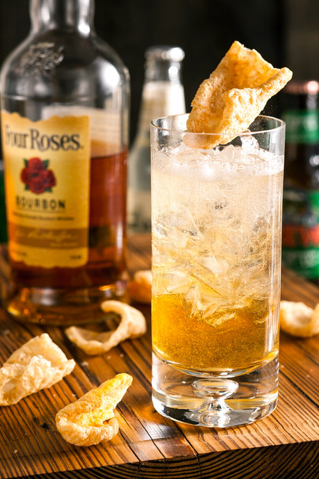 Bourbon and Soda with Fried Pork Rind Garnish