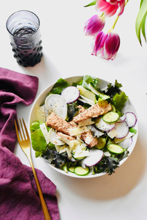 Salad with Salmon, Radishes, Kale & Asiago