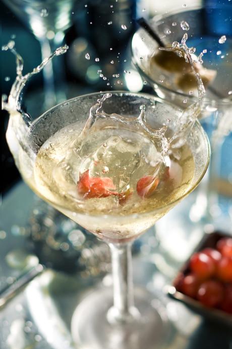 Splash in martini glass