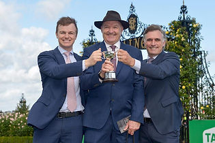 David Hayes, Ben Hayes and Tom Dabernig with the Racing Trainer's Premiership.