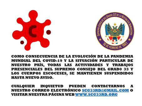 SCG33RD mantiene vigentes indefinidamente las medidas de prevención por la Pandemia Mundial COVID-19