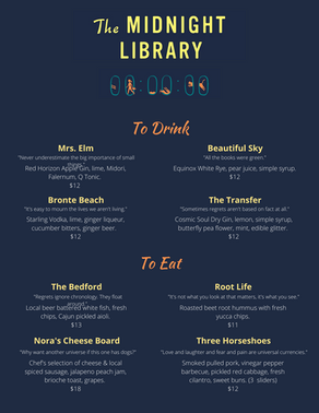 The Midnight Library Meeting Menu