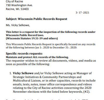HOT Makes Two Records Request Asking for Emails in Racine's 2020 Election