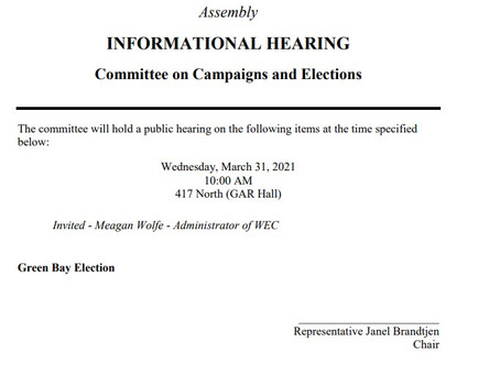 Informational Hearing Campaigns and Elections Watch It LIVE!