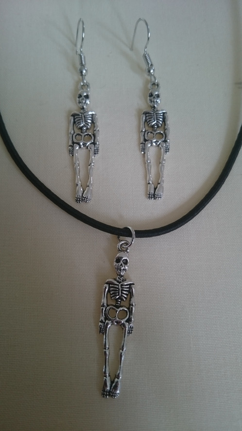 Truly younique straight skeleton pendant and earings gothic punk truly younique straight skeleton pendant and earings aloadofball Image collections