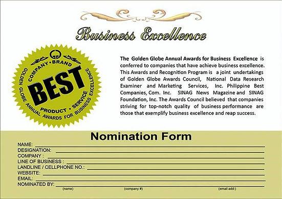 BUSINESS nomination form.