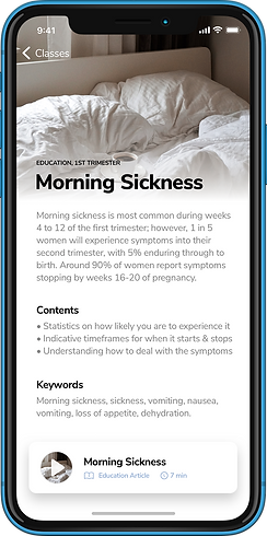 Pregnancy Education App - Morning Sickness - YogiBirth - Prenatal Yoga