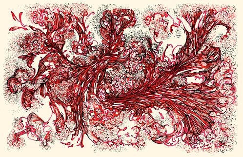 Jorro Vermelho - sublimação sobremusseline - 140x90cm - 2017