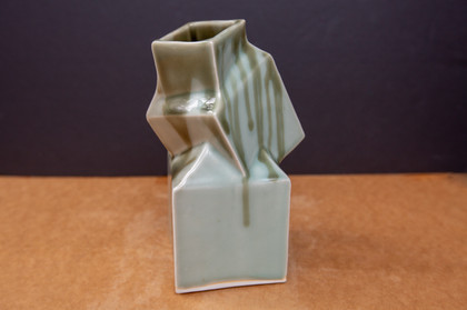 Tumbling Cube - Dark + Light Celadon