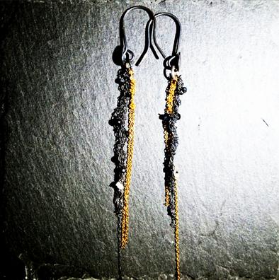 Silver, Goldfild & black spinel light Eerrings