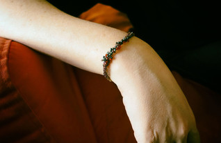 Silver & red spinel stone Bracelet