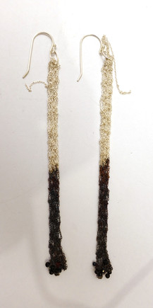 Silver unique knitted earrings