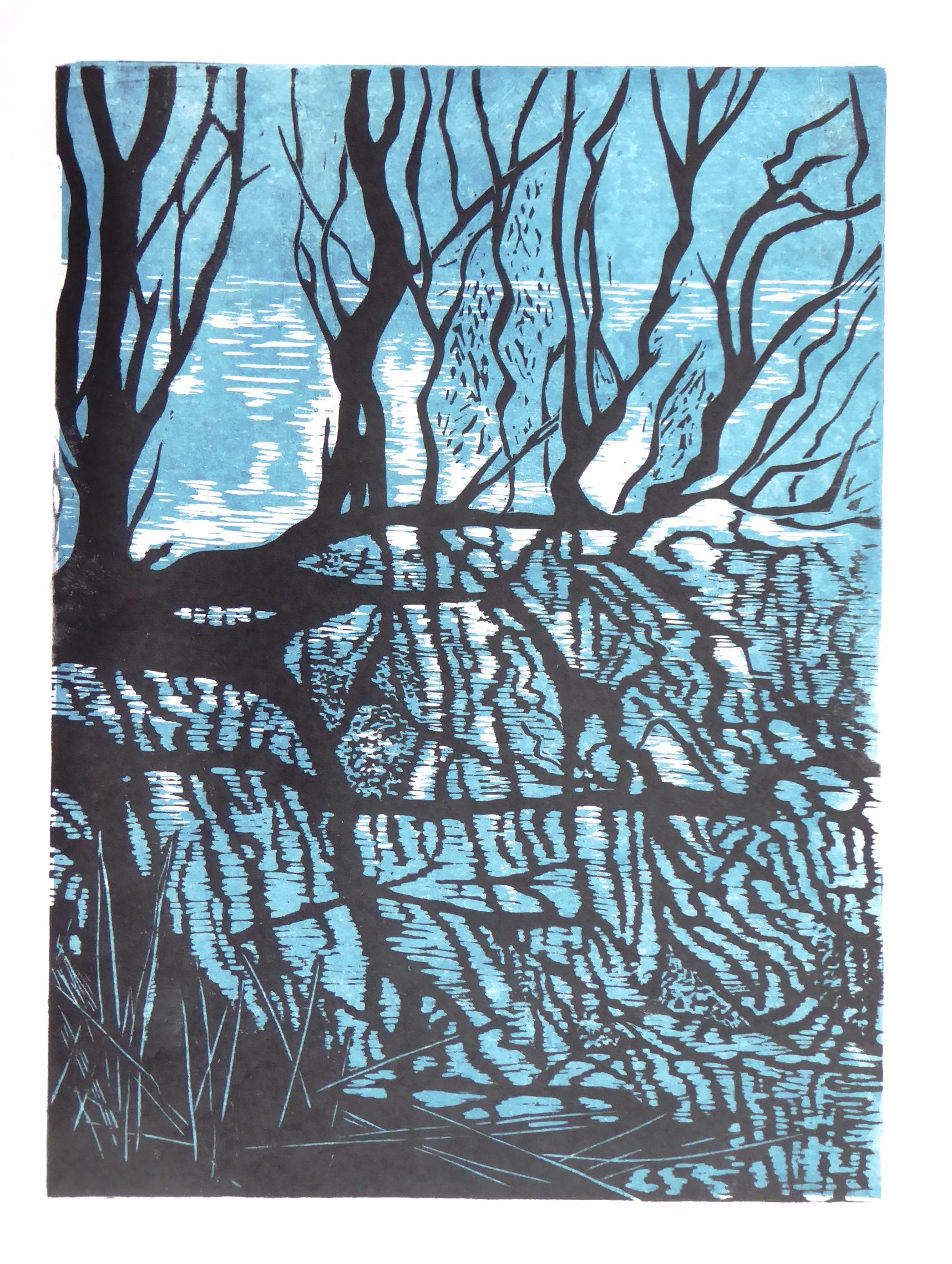 Woodcut Slapton Ley