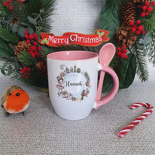 Personalised Christmas Girl Mug With Spoon
