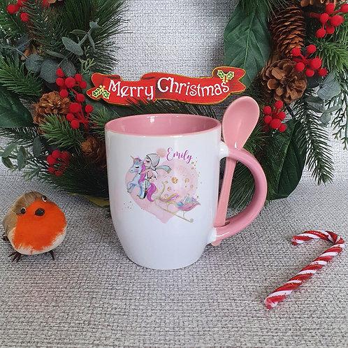 Personalised Christmas Mug With Spoon