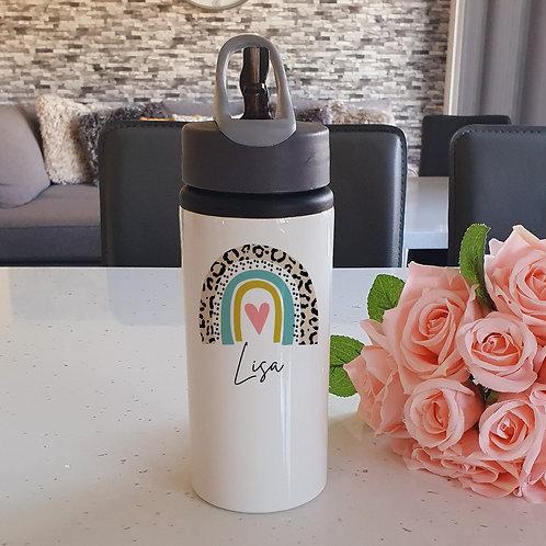 Personalised Leopard Rainbow Water Bottle