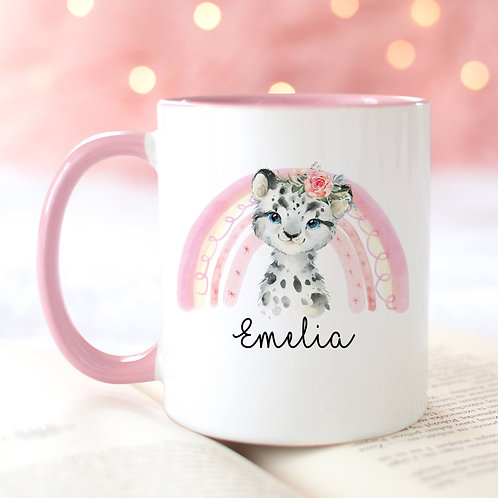 Personalised Snow Leopard Mug
