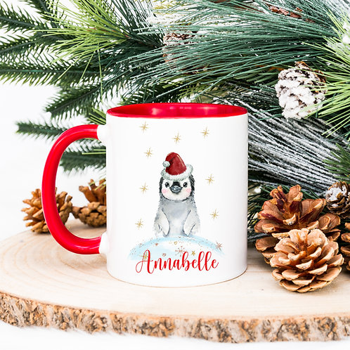 Personalised Christmas Penguin Mug